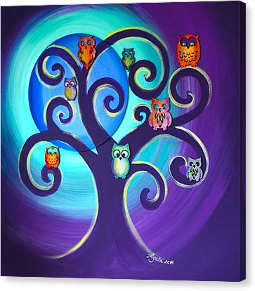 Canvas Print featuring the mixed media Owl Sweet Family by Agata Lindquist