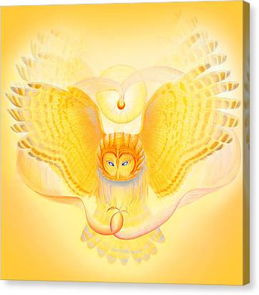 Nature Abstracts Canvas Print - Owl Touching The Medicine Song by Robin Aisha Landsong