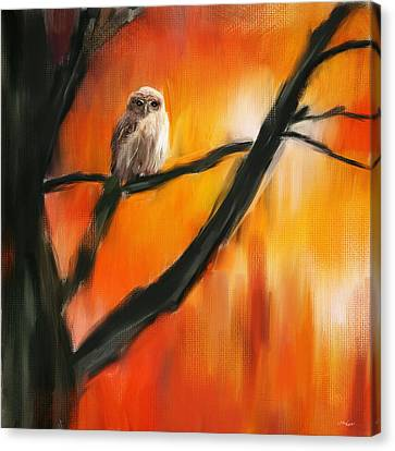 Owl Tree Canvas Print by Lourry Legarde