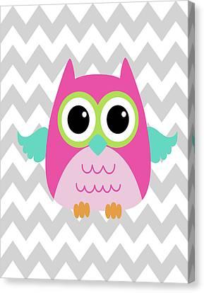 Owl Wash Brush Chevron II Canvas Print by Tamara Robinson