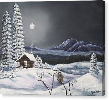 Owl Watch On A Cold Winter's Night Original  Canvas Print by Kimberlee Baxter