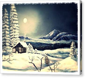 Owl Watch On A Cold Winter's Night Canvas Print by Kimberlee Baxter