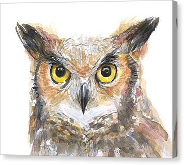 Owl Watercolor Portrait Great Horned Canvas Print by Olga Shvartsur