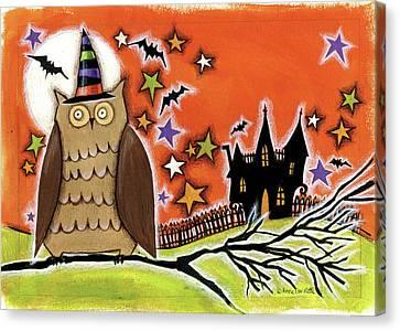 Owl With Hat Canvas Print by Anne Tavoletti