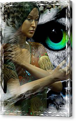 Woman And Owl Canvas Print - Owl Woman by Shadowlea Is