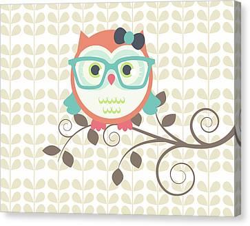 Owls 2 A Canvas Print by Tamara Robinson