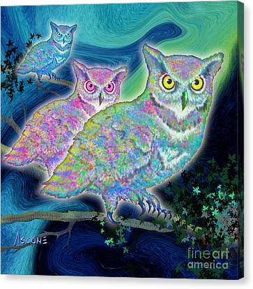 Canvas Print featuring the painting Owls At Midnight  Square by Teresa Ascone