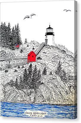 Owls Head Lighthouse Dwg Canvas Print by Frederic Kohli