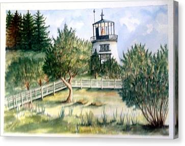 Canvas Print featuring the painting Owls Head Maine Lighthouse by Richard Benson