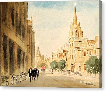 Canvas Print featuring the painting Oxford High Street by Bill Holkham