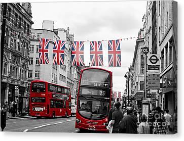 Oxford Street Flags Canvas Print by Matt Malloy