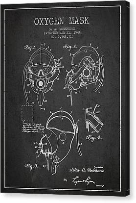 Oxygen Mask Patent From 1944 - Charcoal Canvas Print