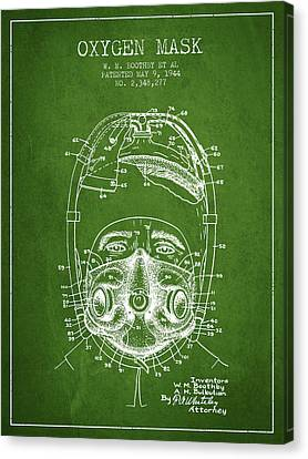 Oxygen Mask Patent From 1944 - One - Green Canvas Print