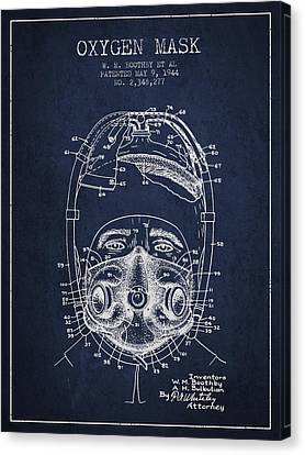 Oxygen Mask Patent From 1944 - One - Navy Blue Canvas Print
