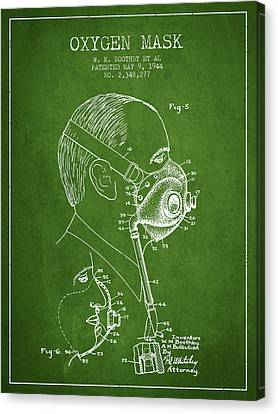 Oxygen Mask Patent From 1944 - Three - Green Canvas Print