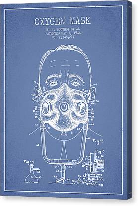 Oxygen Mask Patent From 1944 - Two - Light Blue Canvas Print