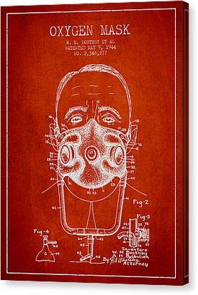 Oxygen Mask Patent From 1944 - Two - Red Canvas Print