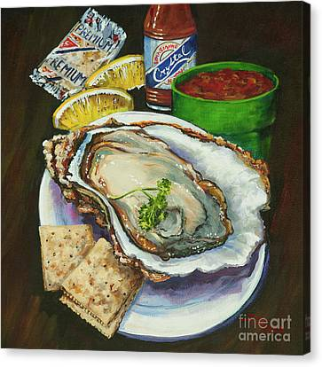 Raw Oyster Canvas Print - Oyster And Crystal by Dianne Parks