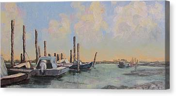 Oyster Boat Evening Canvas Print by Susan Richardson