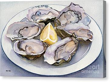 Raw Oyster Canvas Print - Oyster Platter by Heidi Gallo