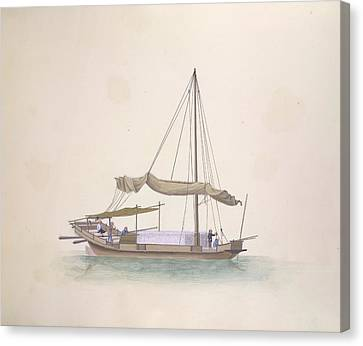 Oyster-shell Boat Canvas Print by British Library