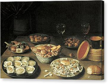 Oysters With Five Dishes Of Delicacies And Two Wine Glasses Canvas Print by Osias Beert the Elder
