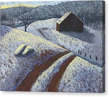 Ozark Winter Barn Canvas Print by Garry McMichael