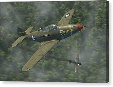 Fighter Canvas Print - P-39 Airacobra Vs. Zero by Robert Perry