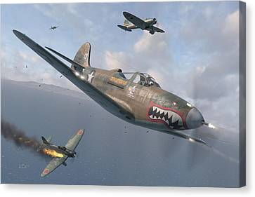 Fighter Canvas Print - P-400 Hells Bells by Robert Perry