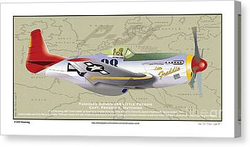 Canvas Print featuring the drawing P-51  by Kenneth De Tore