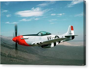 P-51 Mustang In Flight Canvas Print by Us Air Force