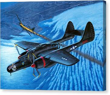 P-61 Black Widow  Caught In The Web Canvas Print by Stu Shepherd