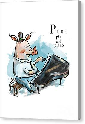 P Is For Pig Canvas Print by Sean Hagan