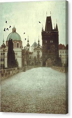 Prague At Dawn Canvas Print by Jaroslaw Blaminsky