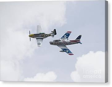 P51 And F86 Heritage Flight Canvas Print by Ules Barnwell