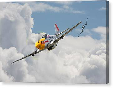 P51 Mustang And Me 262 Canvas Print by Pat Speirs