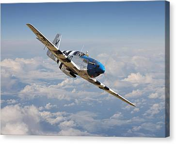 P51 Mustang - Symphony In Blue Canvas Print by Pat Speirs