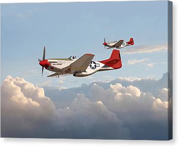 P51 Mustangs - Red Tails Canvas Print by Pat Speirs