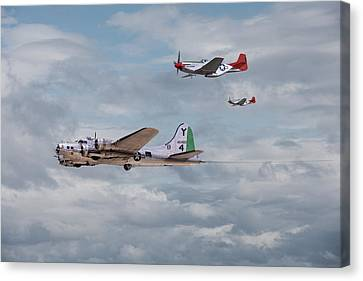 P51 Red Tails - Bringing Them Home Canvas Print by Pat Speirs