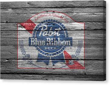 Handcrafted Canvas Print - Pabst Blue Ribbon Beer by Joe Hamilton