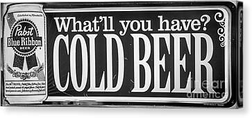 Pabst Cold Beer Sign Key West - Black And White Canvas Print