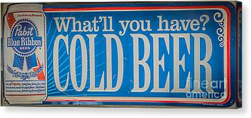 Pabst Cold Beer Sign Key West - Hdr Style Canvas Print