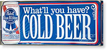Pabst Cold Beer Sign Key West  Canvas Print