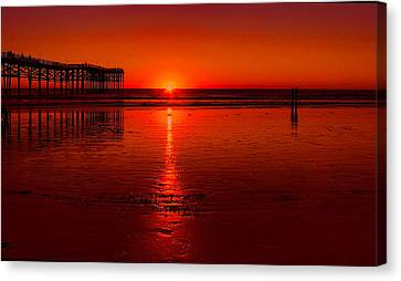 Pacific Beach Sunset Canvas Print by Tammy Espino