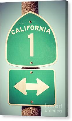 Pacific Coast States Canvas Print - Pacific Coast Highway Sign California State Route 1  by Paul Velgos