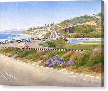 Pacific Coast States Canvas Print - Pacific Coast Hwy Del Mar by Mary Helmreich