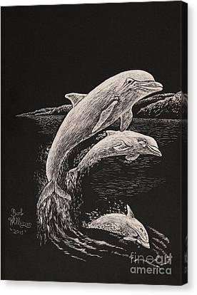 Pacific Ocean Acrobats  Canvas Print
