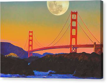 Canvas Print featuring the painting Pacific Sunset - Golden Gate Bridge And Moonrise by Douglas MooreZart