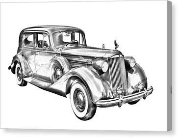 Packard Luxury Antique Car Illustration Canvas Print by Keith Webber Jr