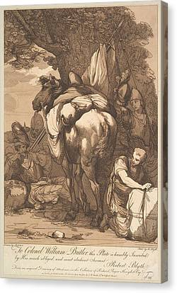 Packhorse With Soldiers Canvas Print